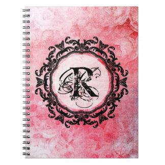Elegant Letter Pink Floral Rose Pattern Notebook