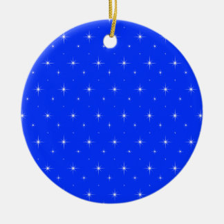 Elegant Light Blue And Bright Stars Pattern Christmas Ornament