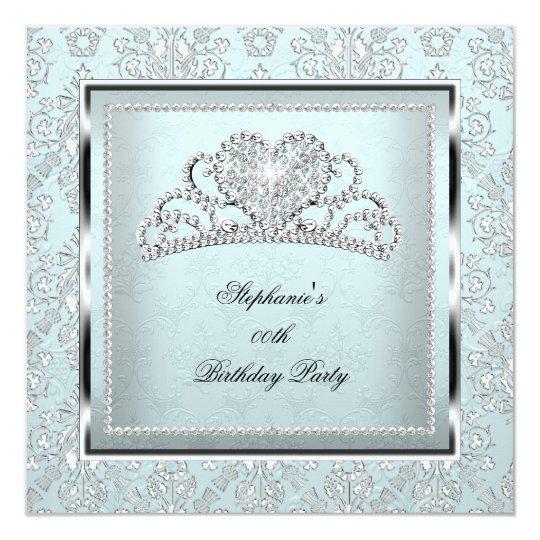 Elegant Light Blue Damask Silver Tiara Birthday Card