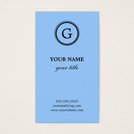 Elegant Light Blue Monogram Business Cards