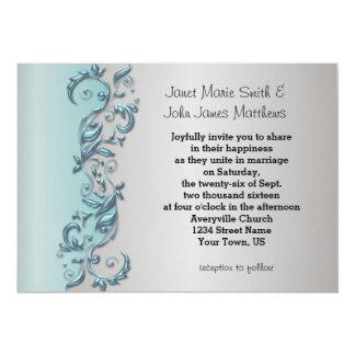 Elegant Light Blue & Silver Florid Wedding Design 13 Cm X 18 Cm Invitation Card