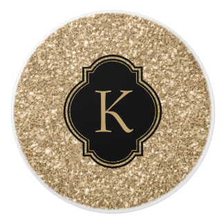 Elegant Light Gold Glitter Print Black Monogram Ceramic Knob