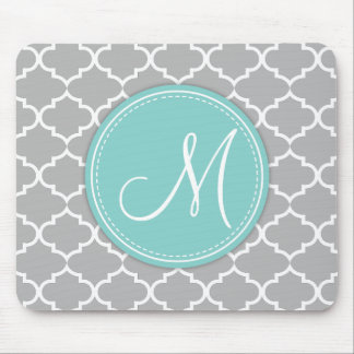 Elegant Light Grey Quatrefoil with Monogram Mouse Mat