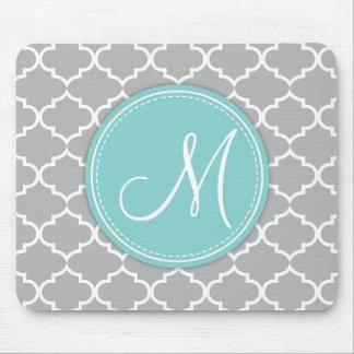 Elegant Light Grey Quatrefoil with Monogram Mouse Pad