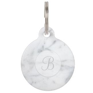 Elegant Light Marble Look Monogram & Pet's Info Pet Tag