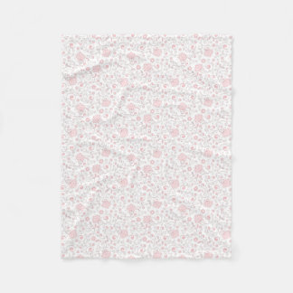 Elegant Light Pink Floral Pattern Fleece Blanket