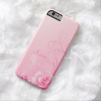 Elegant Light Pink Swirl Rose Monogrammed Barely There iPhone 6 Case
