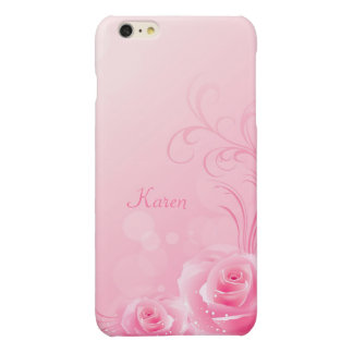 Elegant Light Pink Swirl Rose Pattern Monogrammed iPhone 6 Plus Case