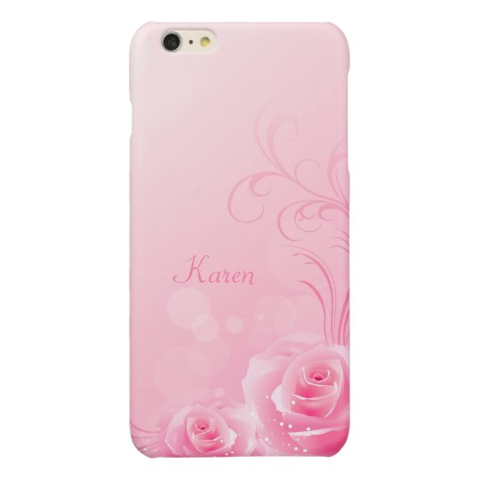 Elegant Light Pink Swirl Rose Pattern Monogrammed iPhone
