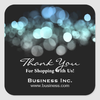 Elegant Lights Business Thank You Blue Square Sticker