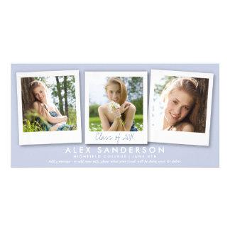 Elegant Lilac 3 Photo Graduation Announcement Photo Cards