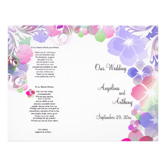 Elegant Lilac And Multi Color Pansies With Swirls 21.5 Cm X 28 Cm Flyer
