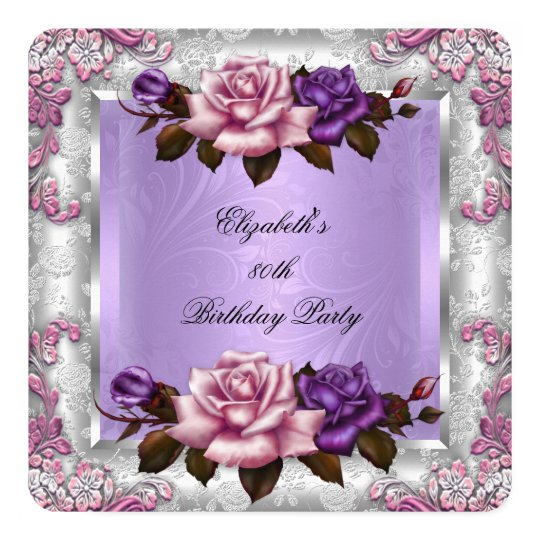 Elegant Lilac Pink Purple Roses Birthday Party 2
