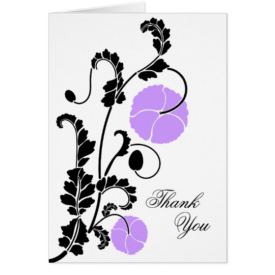 Elegant Lilac Poppy Thank You Note Card
