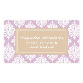 Elegant Lilac Purple Damask Personalized Business Cards