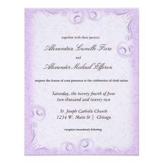 Elegant Lilac Scrollwork Formal Wedding Invite