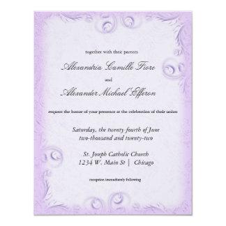 Elegant Lilac Scrollwork Formal Wedding Invite