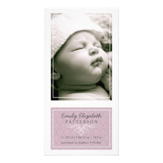 Elegant Lilac & White Baby Girl Birth Announcement Photo Card