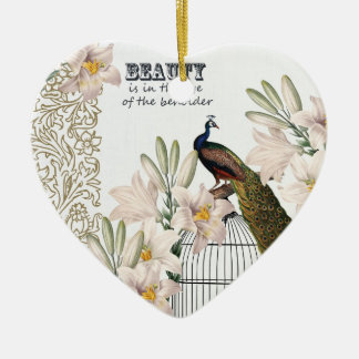 Elegant Lilies Peacock Heart Christmas Ornament