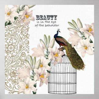 Elegant Lilies Peacock Print