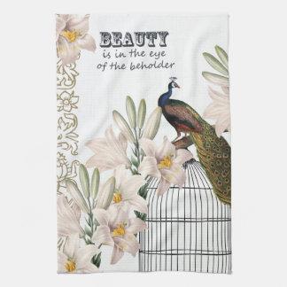Elegant Lilies Peacock Tea Towel