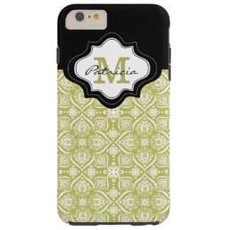Elegant Lime Green Damask Pattern Custom Monogram Tough iPhone 6 Plus Case