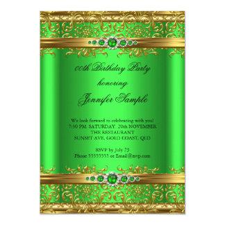 Elegant Lime Green Gold Damask Diamond Birthday 13 Cm X 18 Cm Invitation Card