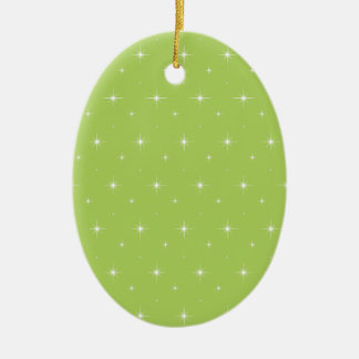 Elegant Limonade Green And Bright Stars Pattern Ornament