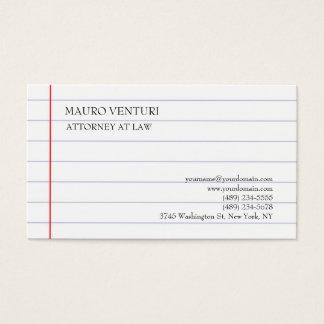 Elegant Lined Paper Plain Professional Minimalist Business Card