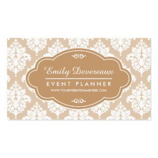 Elegant Linen Beige Damask Personalized Business Card Template