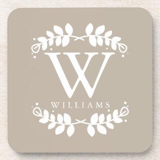 Elegant Linen Beige Monogram Coaster