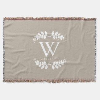 Elegant Linen Beige Monogram Throw Blanket