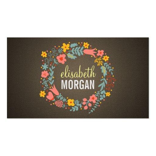 Premium retro vintage business card templates elegant linen burlap floral wreath reheart Images