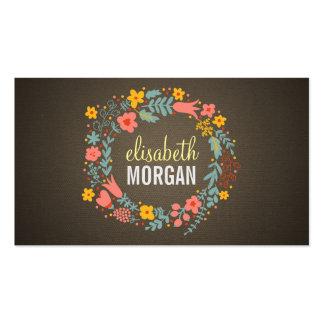 Elegant Linen Burlap Floral Wreath Business Cards