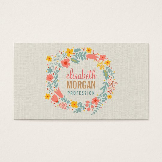 Elegant Linen Burlap with Floral Wreath Business Card