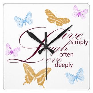 Elegant Live Laugh Love Butterflies Wall Clocks
