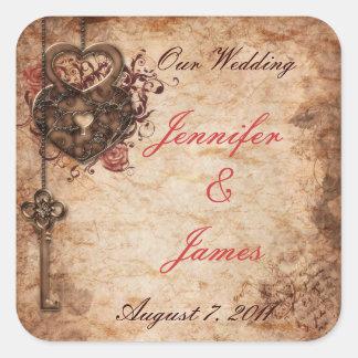 Elegant Lock and Key Wedding Sticker