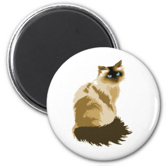 Elegant Long Haired Cat 6 Cm Round Magnet