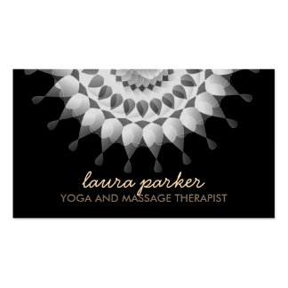 Elegant Lotus Flower Logo Yoga Healing Health Double-Sided Standard Business Cards (Pack Of 100)