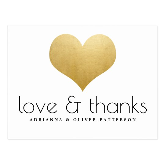 Elegant Love And Thanks Faux Gold Foil Heart