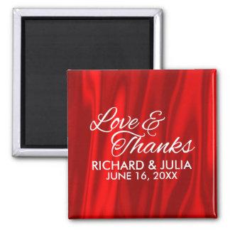 Elegant Love and Thanks Red Wedding Favor Magnet