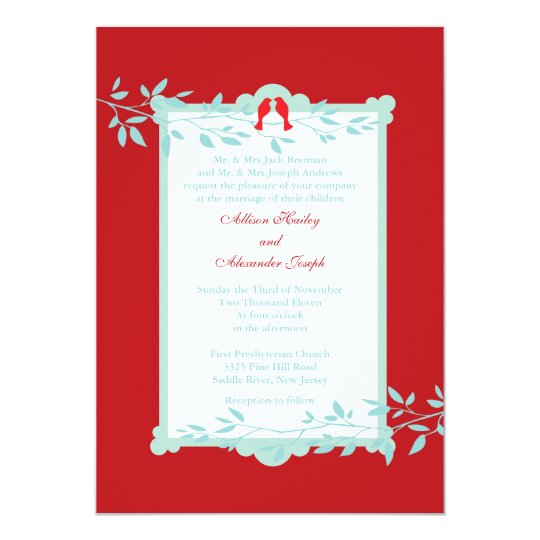 Elegant love birds Wedding Invitation