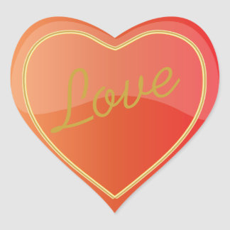 Elegant Love Shiny Bright Orange Heart Heart Sticker