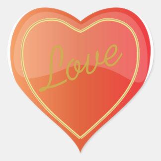 Elegant Love Shiny Bright Orange Heart Heart Stickers