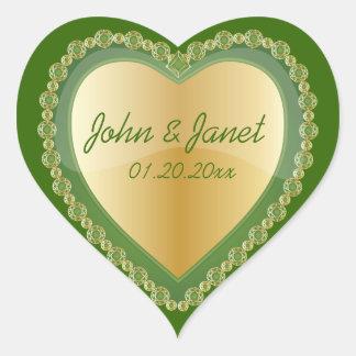 Elegant Love Shiny Dark Green Gold Heart Jewel Heart Sticker
