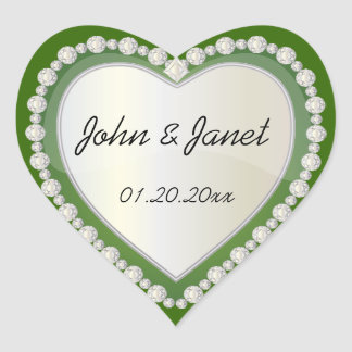 Elegant Love Shiny Dark Green Heart Jewel Heart Sticker