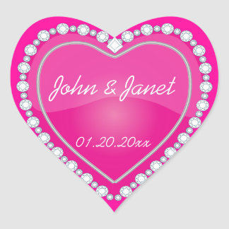 Elegant Love Shiny Pink Heart Sticker
