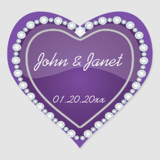 Elegant Love Shiny Purple Heart Heart Sticker