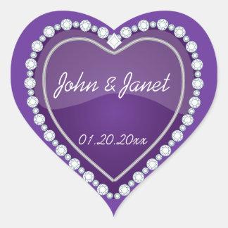 Elegant Love Shiny Purple Heart Heart Sticker