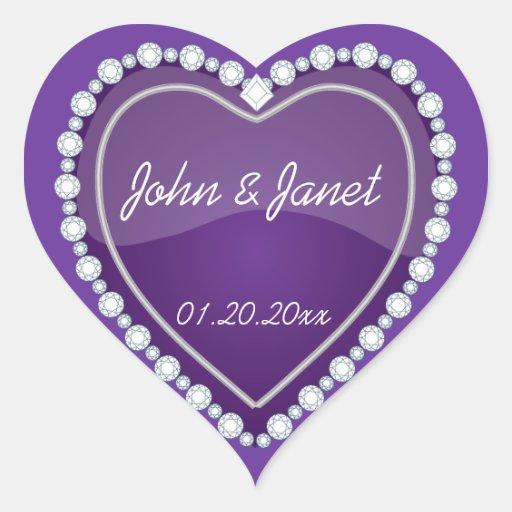 Elegant Love Shiny Purple Heart Heart Stickers